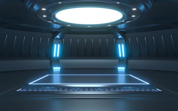 Neon futuristico della fase vuota di sci fi. rendering 3d