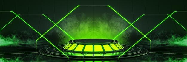 Futuristico fantascienza moderna sala grande vuota oscuri alieni garage fantascienza 3drendering