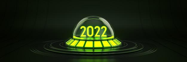 Futuristico fantascienza moderna vuota sala grande oscurità alieno garage fantascienza luce 2022 lettera segno