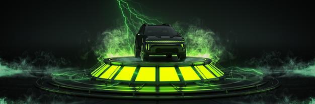 Futuristico fantascienza moderna vuota sala grande oscurità alieno garage fantascienza auto sportiva configurazione dello studio