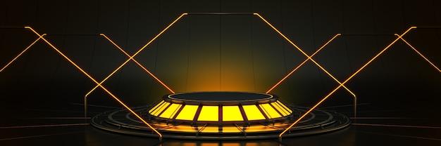Futuristica fantascienza moderna sala grande vuota oscuri garage alieno fantascienza