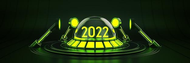Futuristico fantascienza moderna vuota sala grande buio luce 2022 lettera segno nuovo anno 2022