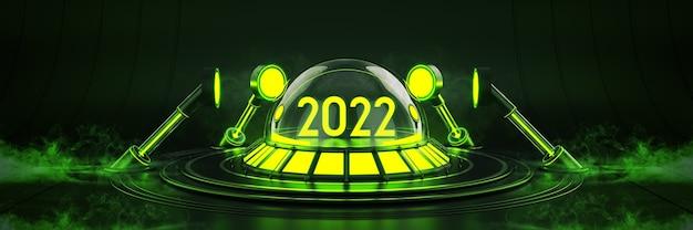 Futuristico fantascienza moderna vuota sala grande buia luce 2022 lettera segno nuovo anno 2022