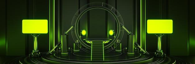 Futuristico fantascienza moderna sala grande vuota oscura luce portale spaziotempo