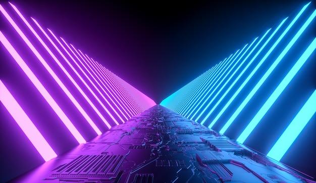 Futuristico corridoio del tunnel di fantascienza con luci al neon