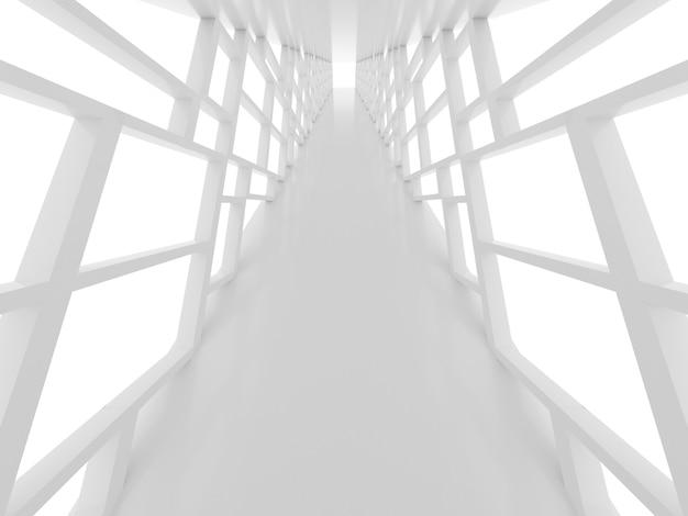 Superficie futuristica con tunnel bianco