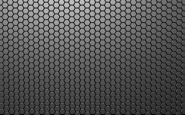 Sfondo astratto di esagono tecnologia futuristica illustrazione di mosaico a nido d'ape sfondo grigio illustrazione 3d