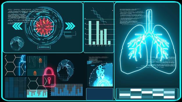 Ricerca tecnologica futuristica e informazioni sui dati di elaborazione digitale con grafico per l'analisi