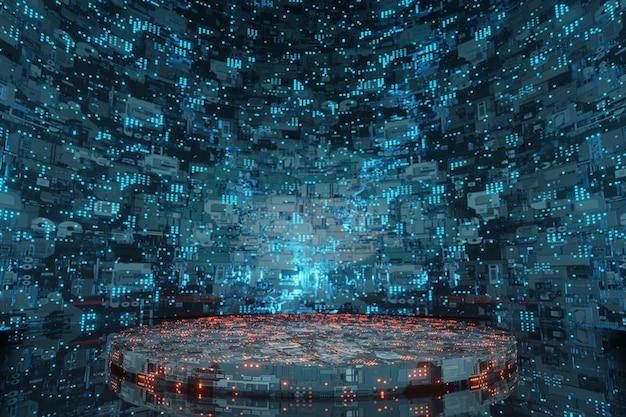 Tecnologia futuristica fase di fantascienza astronave aliena sfondo 3d rendering