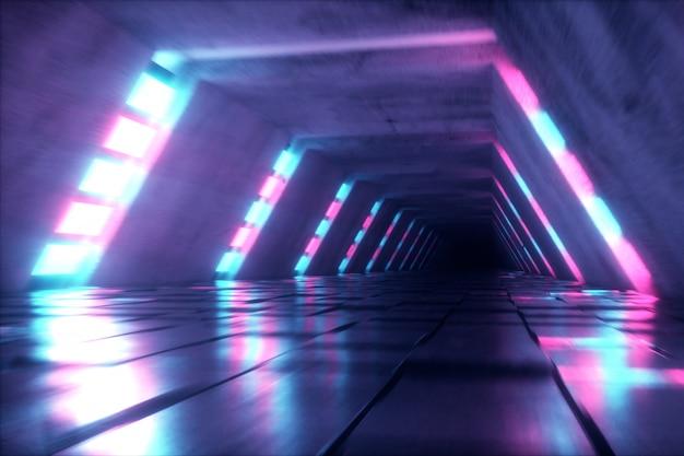 Tunnel futuristico con luci ultraviolette fluorescenti