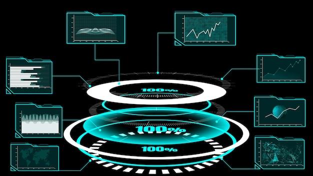 Dashboard futuristico dell'interfaccia utente per l'analisi dei big data nel grafico delle informazioni