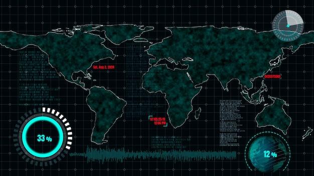 Cruscotto futuristico dell'interfaccia utente per l'analisi dei big data nel grafico delle informazioni