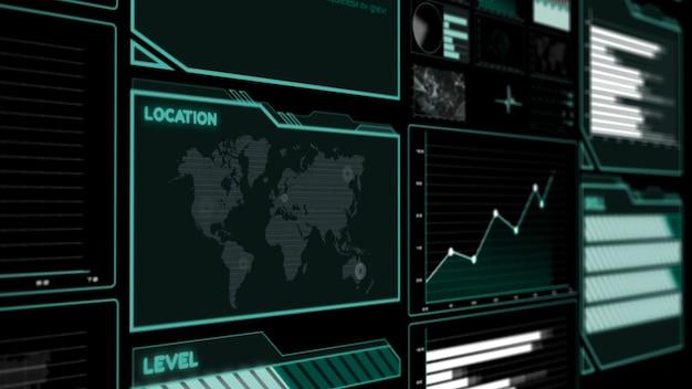 Cruscotto futuristico dell'interfaccia utente per l'analisi dei dati
