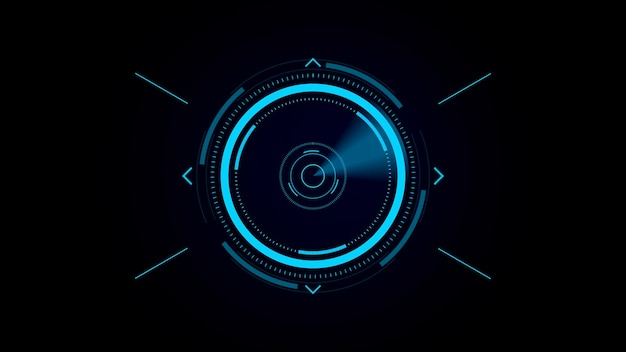 Interfaccia utente futuristica hud, mirino digitale, scansione di un bersaglio