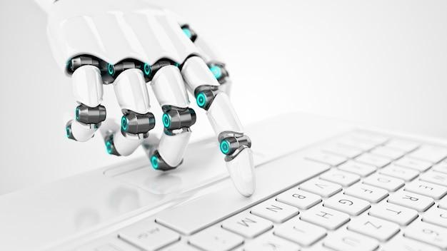 Mano futuristica del cyborg bianco premendo un tasto su una tastiera