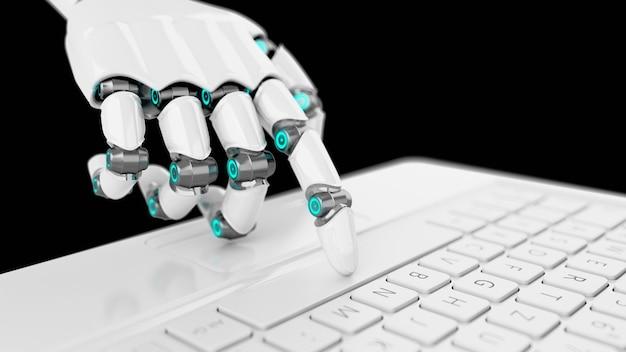 Mano di cyborg bianco futuristico premendo un tasto su una tastiera