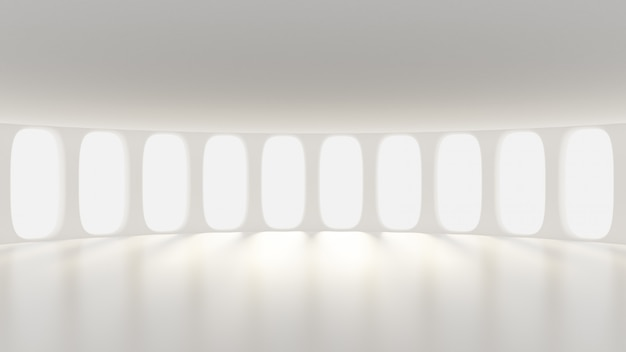 Interno opaco bianco vuoto futuristico. rendering 3d.