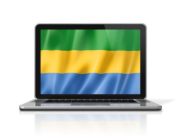 Bandiera del gabon sullo schermo del computer portatile isolato su bianco. rendering di illustrazione 3d.