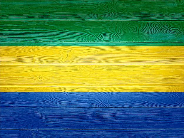 Bandiera del gabon dipinta su assi di legno