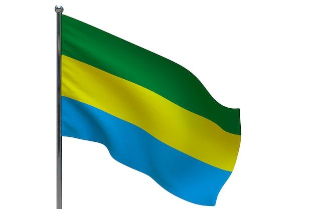 Bandiera del gabon in pole. pennone in metallo. bandiera nazionale del gabon 3d'illustrazione su bianco