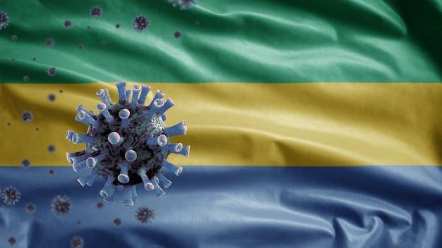 Bandiera del gabon che sventola e concetto di coronavirus 2019 ncov.