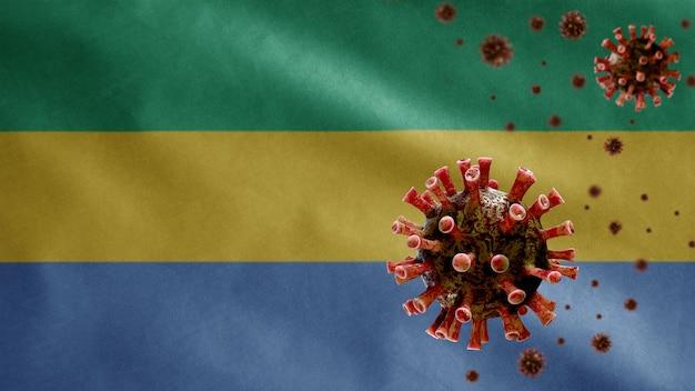 Bandiera del gabon sventola con focolaio di coronavirus che infetta le vie respiratorie come pericolosa influenza