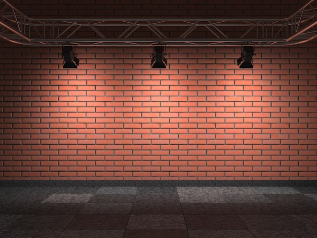 Interno della galleria con muro di mattoni