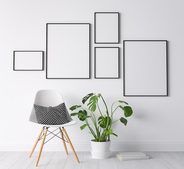 Parete della galleria nel design del soggiorno minimo, sedia bianca su sfondo moderno