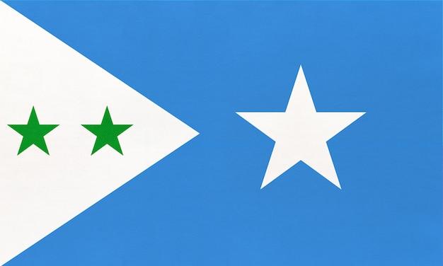 Bandiera nazionale del tessuto di galmudug, fondo del tessuto. simbolo del mondo paese africano.