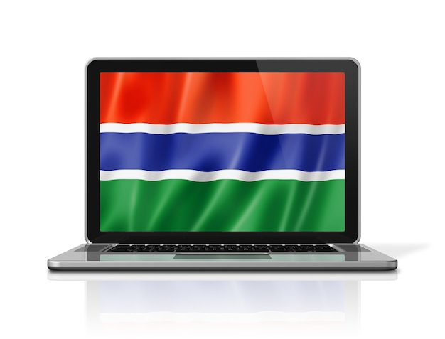 Bandiera del gambia sullo schermo del computer portatile isolato su bianco. rendering di illustrazione 3d.