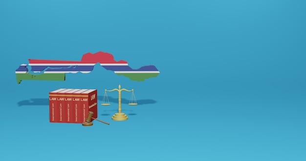 Legge del gambia per le infografiche, i contenuti dei social media nel rendering 3d
