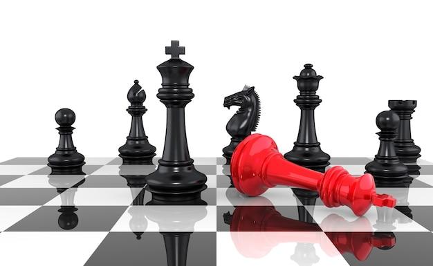 Una partita a scacchi volge al termine. il re è scacco matto. rendering tridimensionale