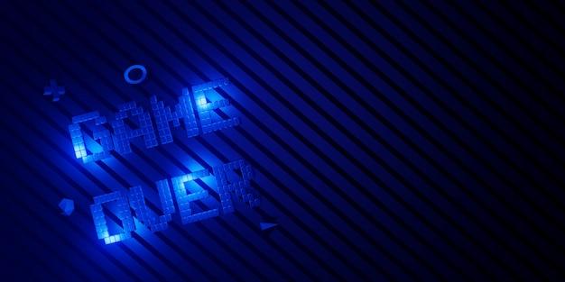 Game over neon laser glow effect 3d'illustrazione