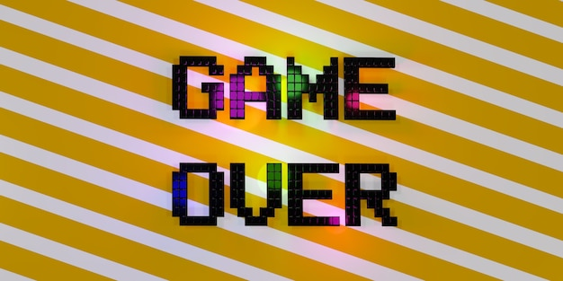 Game over neon laser glow effect 3d