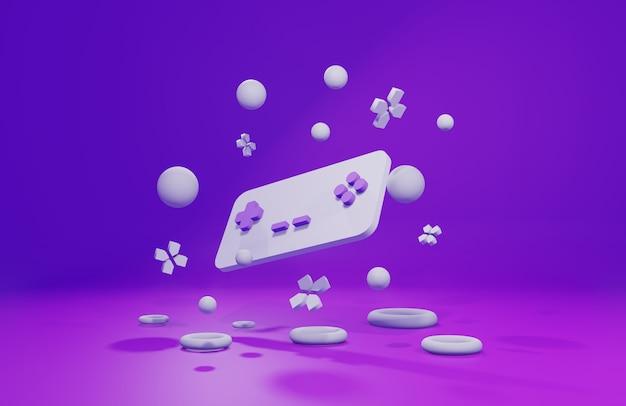 Il gamepad galleggia tra le palline sulla scena viola, rendering 3d