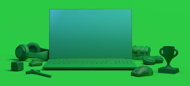 Concetto di giocatore con laptop controller console di gioco dadi cuffie petto 3d illustrazione