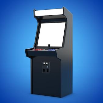 Macchina da gioco arcade con schermo vuoto per il tuo design su sfondo blu. rendering 3d.
