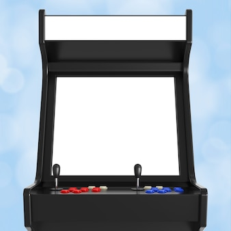 Macchina da gioco arcade con schermo vuoto per il tuo design primo piano estremo. rendering 3d.