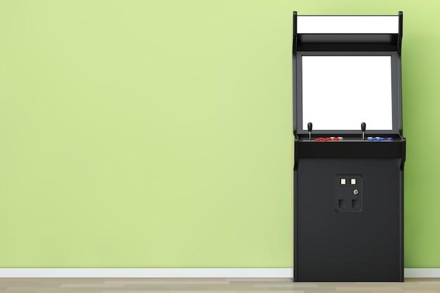 Macchina da gioco arcade con schermo vuoto per il tuo design davanti al muro verde oliva. rendering 3d.