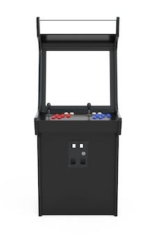 Macchina da gioco arcade con schermo vuoto per il tuo design su sfondo bianco. rendering 3d.