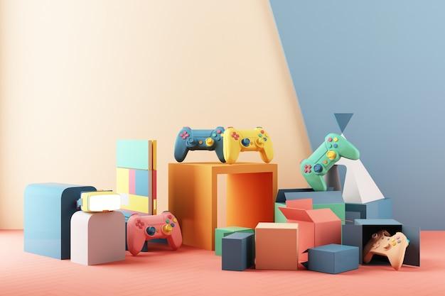 Concetto di gioco. gamepad e vr con console per videogiochi e design minimal trendy colorato pastello. rendering 3d