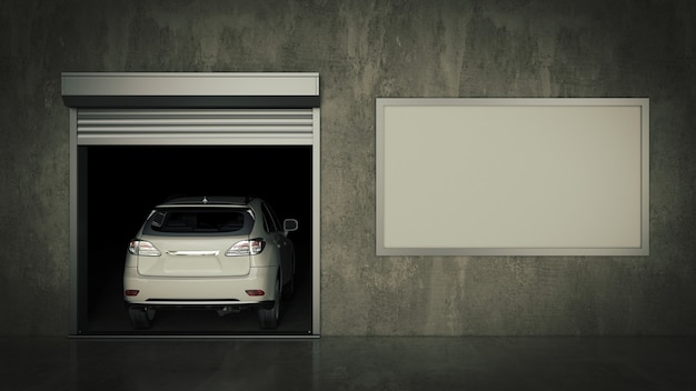 Garage con porta a rulli aperta 3d rendering