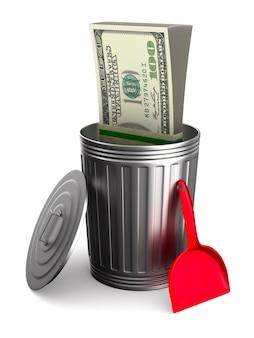 Cestino dell'immondizia con i dollari su uno spazio bianco