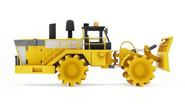 Macchina compattatore di rifiuti per discariche. un tipo speciale di bulldozer industriale per lavorare in discarica. rendering 3d.