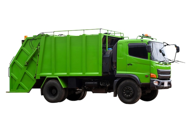 Camion della spazzatura in contenitori per lo svuotamento dei rifiuti per lo smaltimento dei rifiuti isolare su sfondo bianco