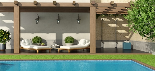 Giardino con pergola e piscina