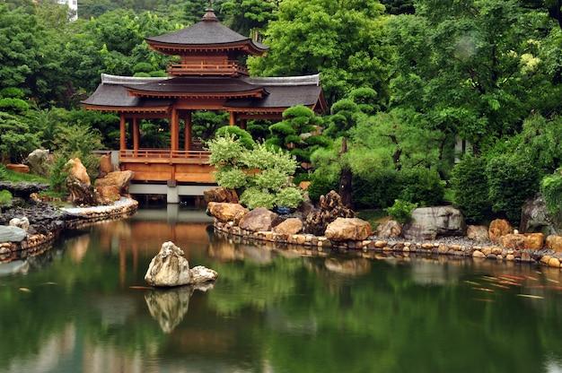Giardino con laghetto, casa e rocce in riva al lago, paesaggio zen, hong kong.