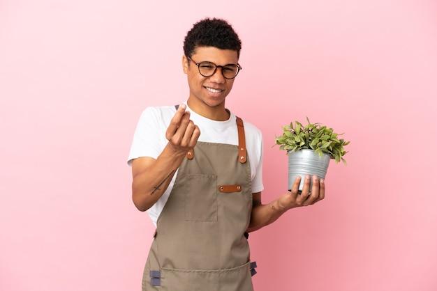 Giardiniere uomo africano che tiene una pianta isolata su sfondo rosa che fa gesto di denaro