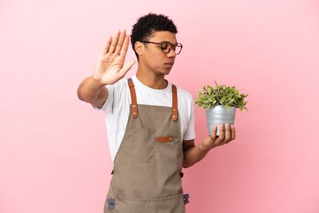 Giardiniere africano che tiene una pianta isolata su sfondo rosa facendo un gesto di arresto e deluso