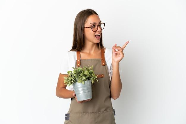 La ragazza del giardiniere che tiene una pianta sopra fondo bianco isolato intende realizzare la soluzione mentre solleva un dito su